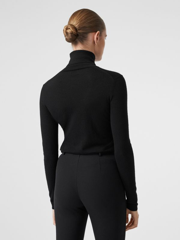 Logo Embroidered Cashmere Silk Roll-neck Sweater in Black - Women | Burberry Canada - cell image 2