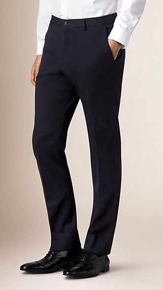 Modern Fit Tapered Wool Trousers