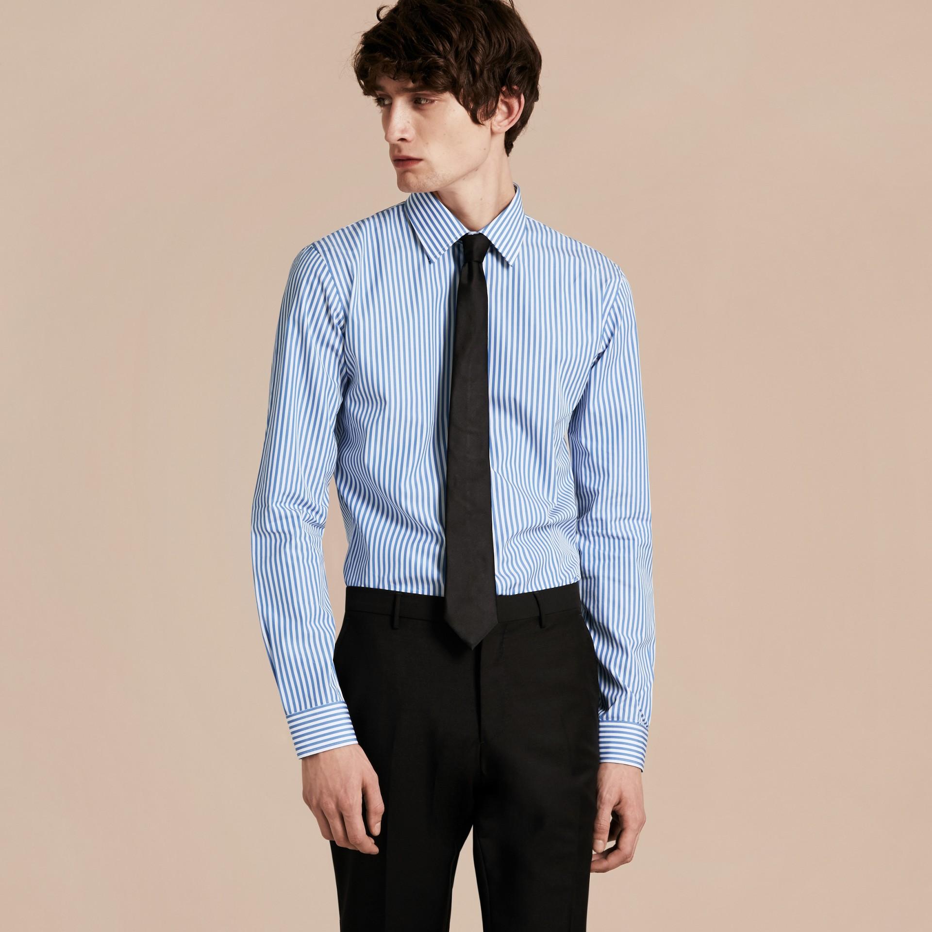 Mid blue Slim Fit Striped Cotton Poplin Shirt Mid Blue - gallery image 6