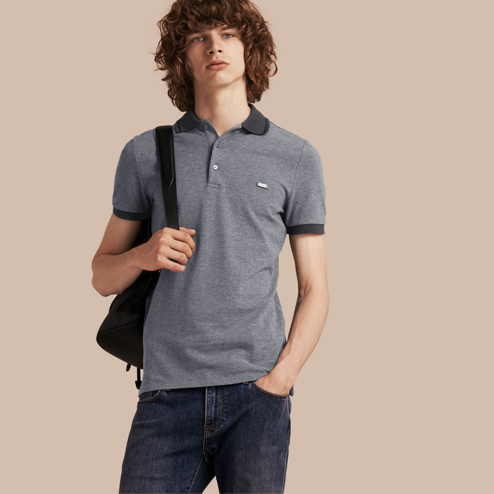 Mid grey melange Contrast Trim Cotton Piqué Polo Shirt Mid Grey Melange - gallery image 1