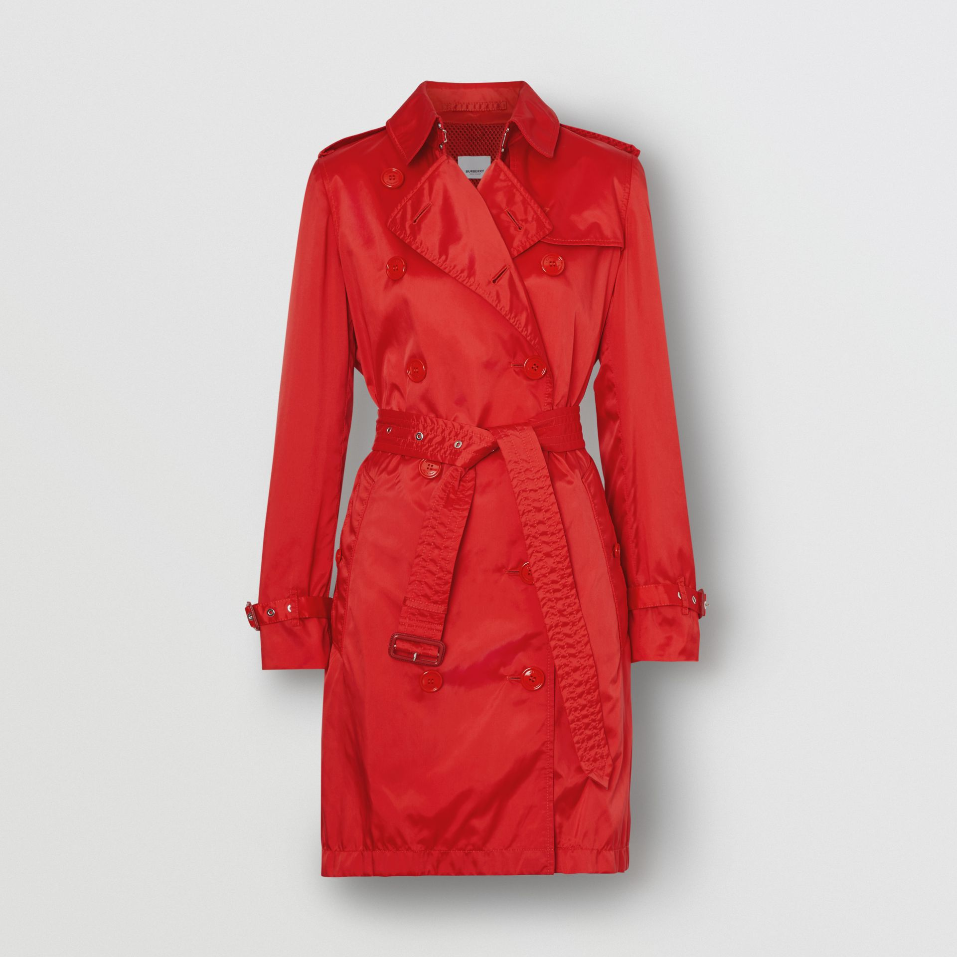 Detachable Hood ECONYL® Trench Coat in Bright Red - Women | Burberry United Kingdom - gallery image 3