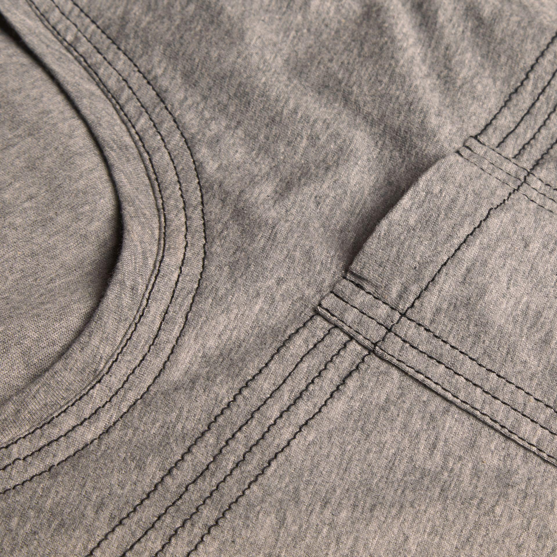 Pale grey melange Topstitch Detail Cotton T-shirt Pale Grey Melange - gallery image 2