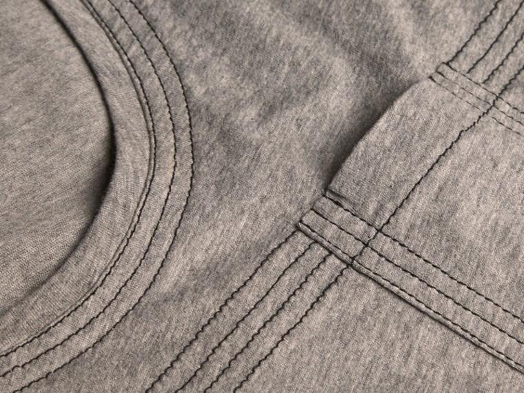 Pale grey melange Topstitch Detail Cotton T-shirt Pale Grey Melange - cell image 1