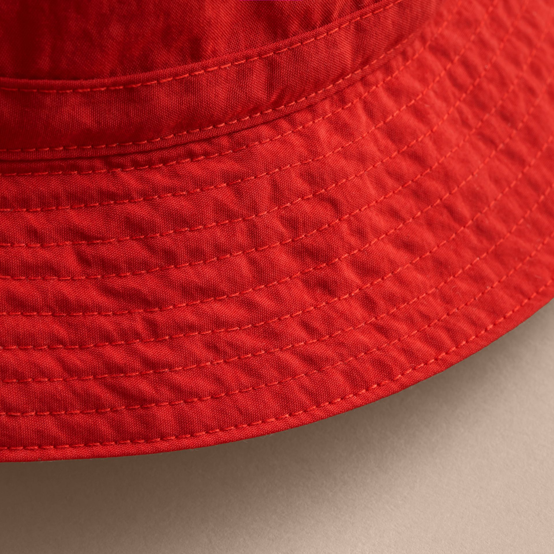 Check Detail Bucket Hat in Military Red | Burberry Australia - gallery image 1