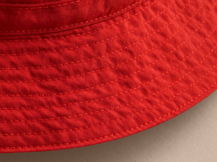 Check Detail Bucket Hat in Military Red | Burberry - cell image 1