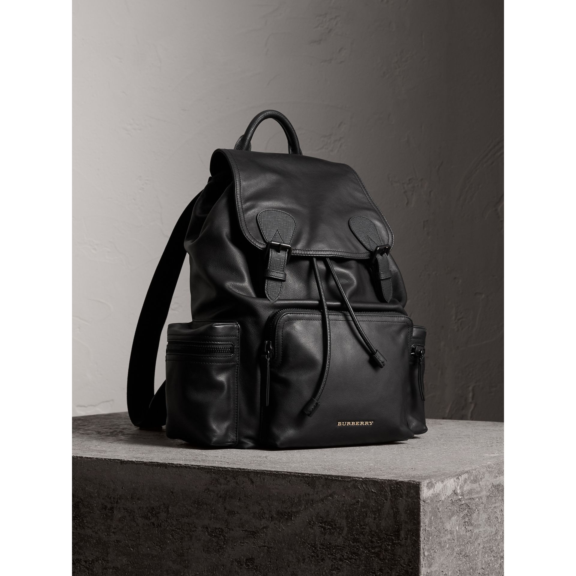 The Large Rucksack in Water-repellent Leather in Black - Men | Burberry Australia - gallery image 7