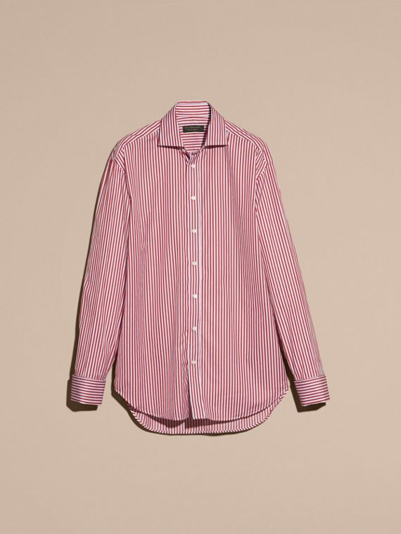 Cardinal red Striped Double-cuff Cotton Shirt - cell image 3