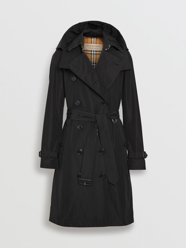 Detachable Hood Taffeta Trench Coat in Black - Women | Burberry Singapore - cell image 3