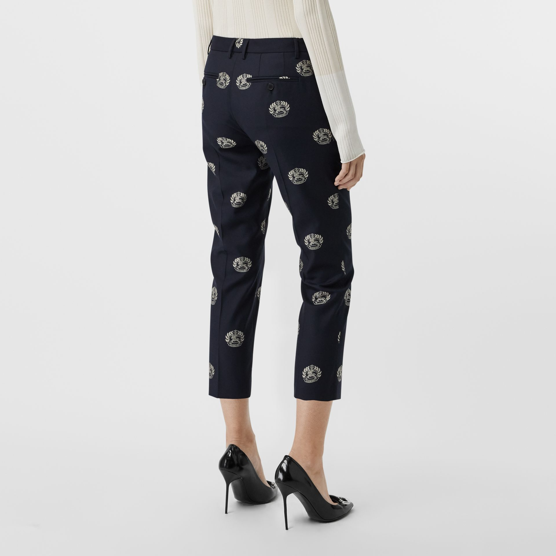 Crest Detail Wool Cropped Tailored Trousers in Midnight Blue - Women | Burberry Australia - gallery image 2