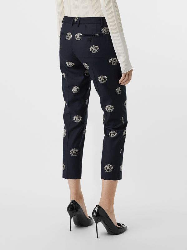 Crest Detail Wool Cropped Tailored Trousers in Midnight Blue - Women | Burberry - cell image 2