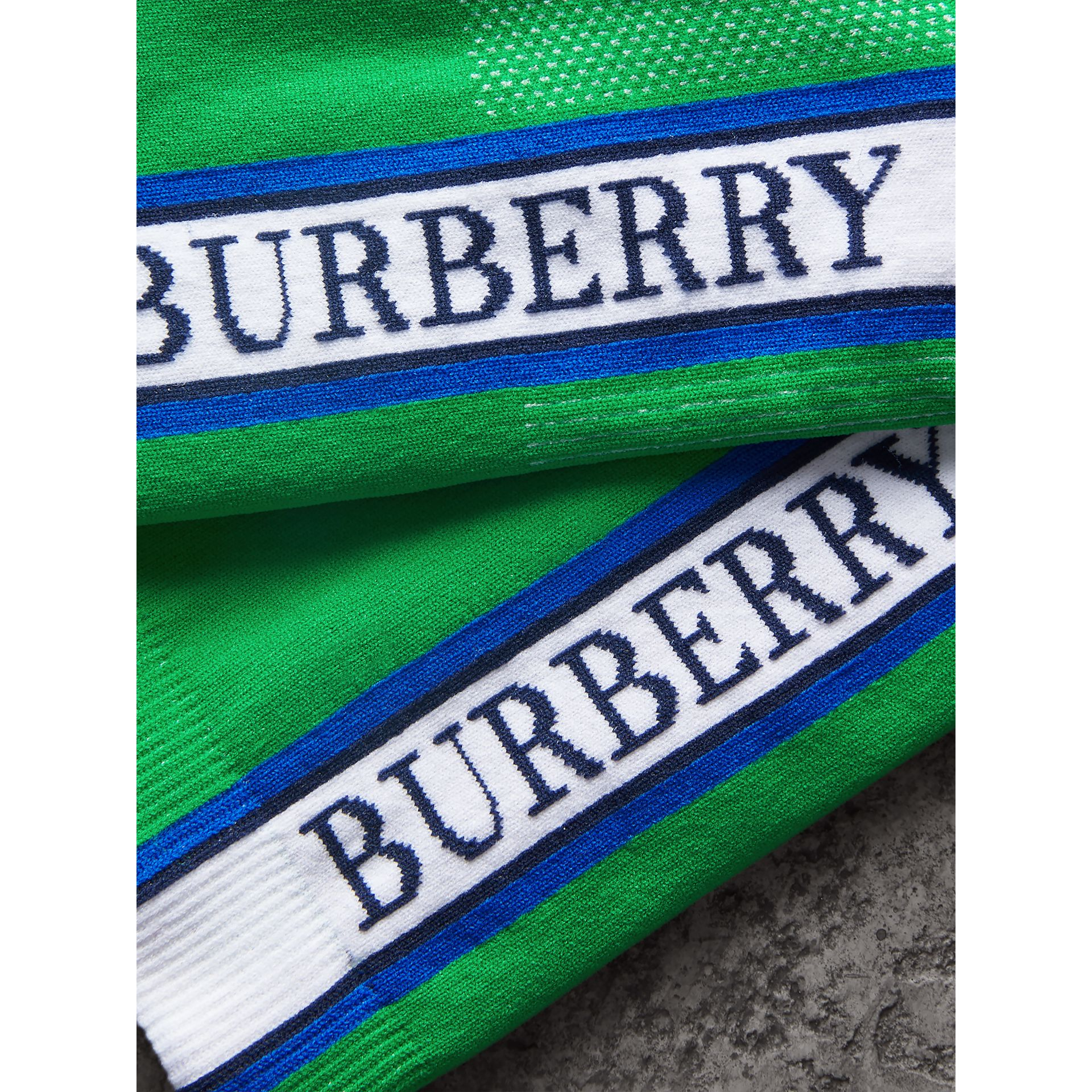 Logo Technical Knit Socks in Bright Grass Green | Burberry - gallery image 1