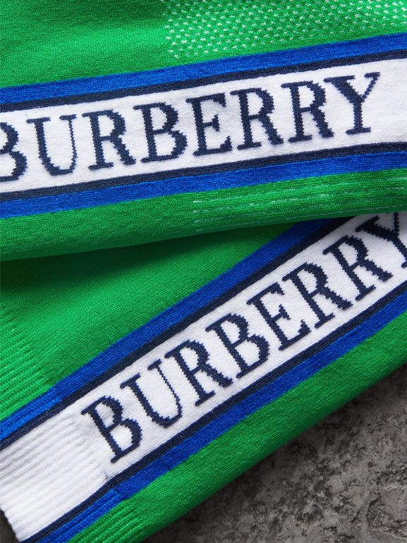Logo Technical Knit Socks in Bright Grass Green | Burberry United Kingdom - cell image 1