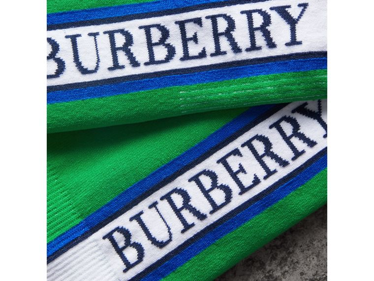 Logo Technical Knit Socks in Bright Grass Green | Burberry - cell image 1