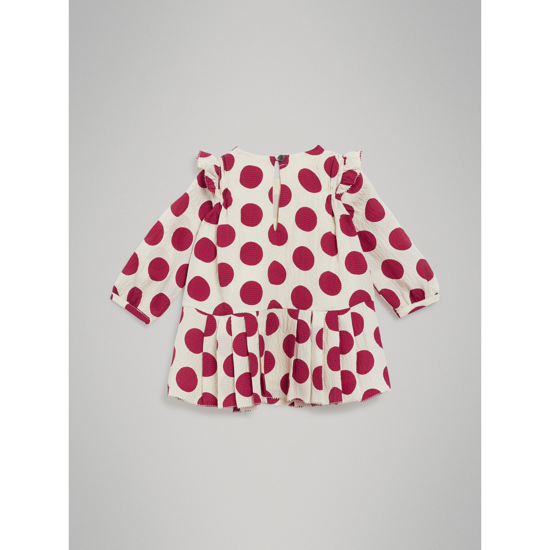 Polka Dot Print Silk Crepe Dress in Windsor Red - Children | Burberry Australia - gallery image 3