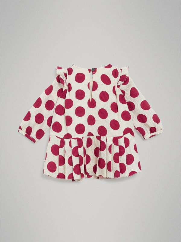 Polka Dot Print Silk Crepe Dress in Windsor Red - Children | Burberry - cell image 3