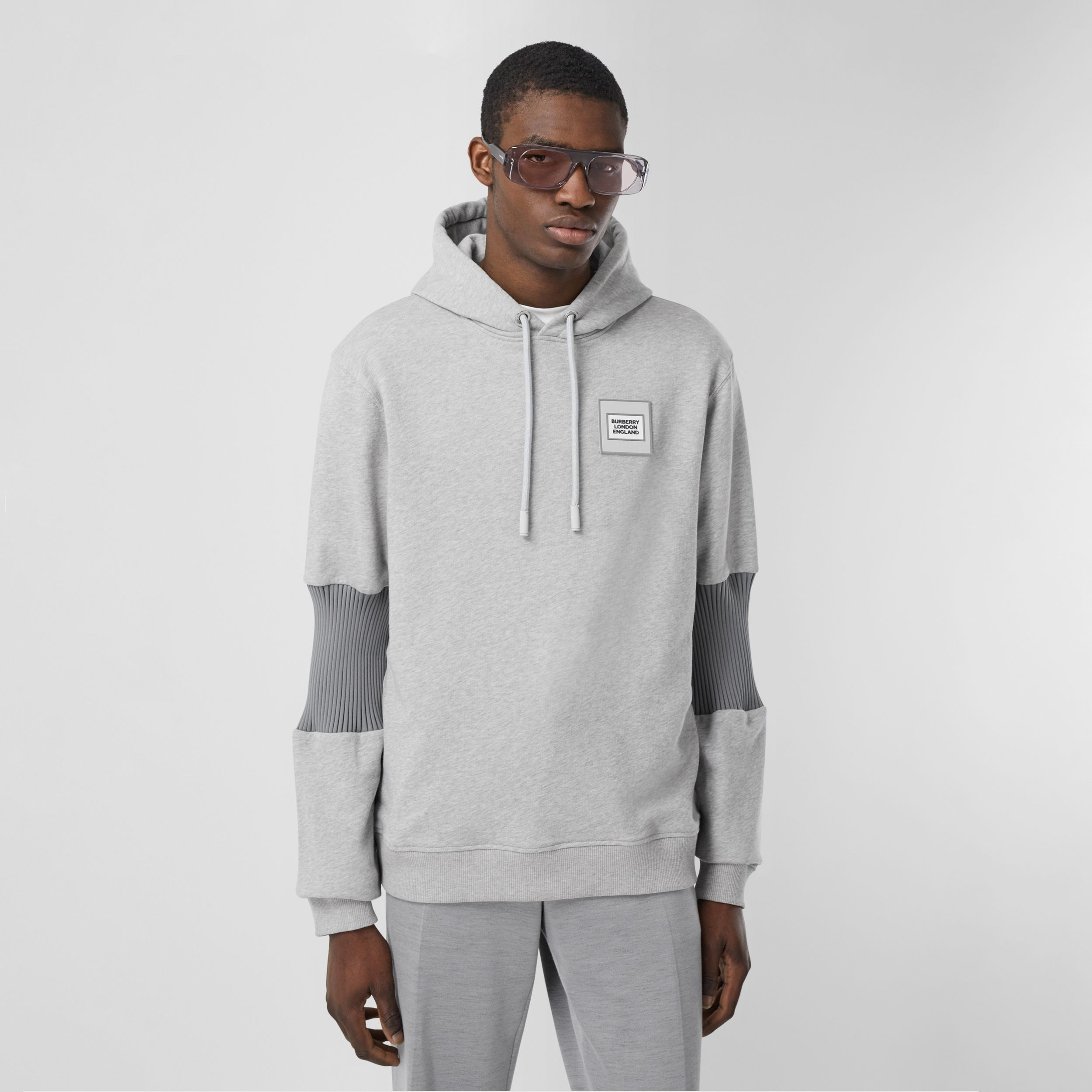 Panelled-sleeve Cotton Hoodie in Grey Melange - Men | Burberry - 1