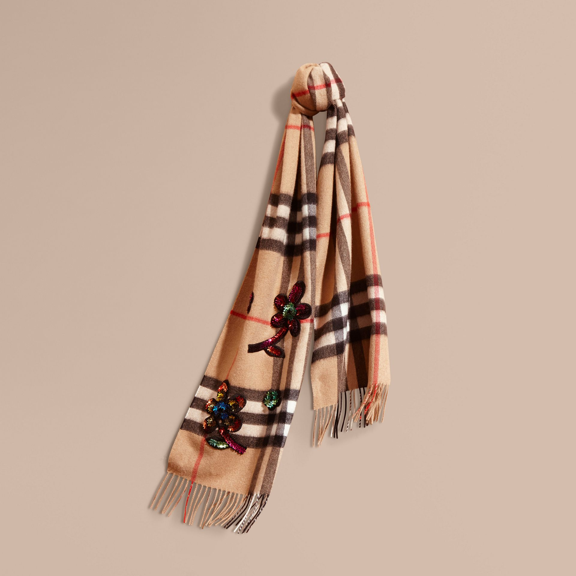 Camel The Classic Cashmere Scarf in Check with Sequinned Flowers - gallery image 6