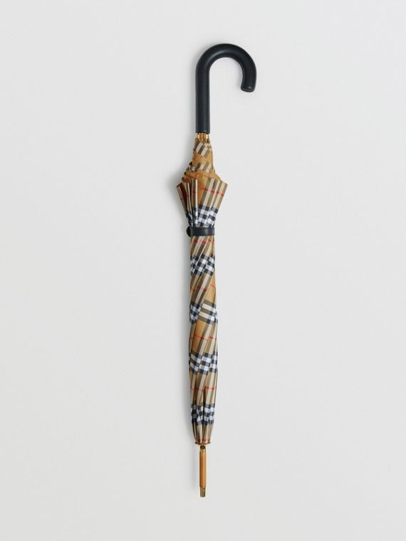 Vintage Check Walking Umbrella in Antique Yellow/black