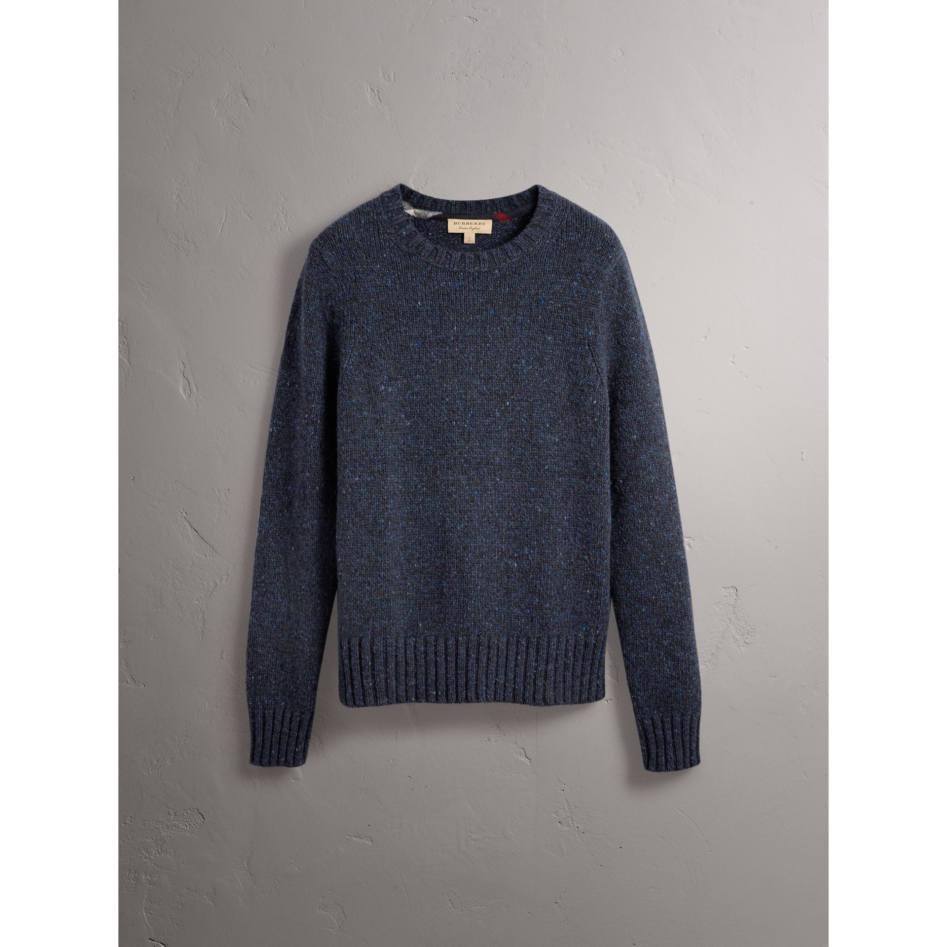 Flecked Wool Cashmere Mohair Sweater in Navy - Men | Burberry - gallery image 4