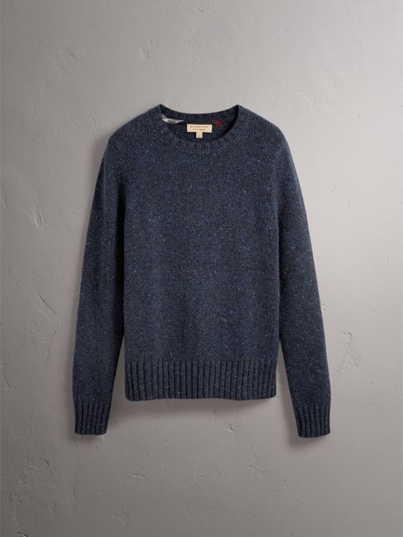 Flecked Wool Cashmere Mohair Sweater in Navy - Men | Burberry - cell image 3