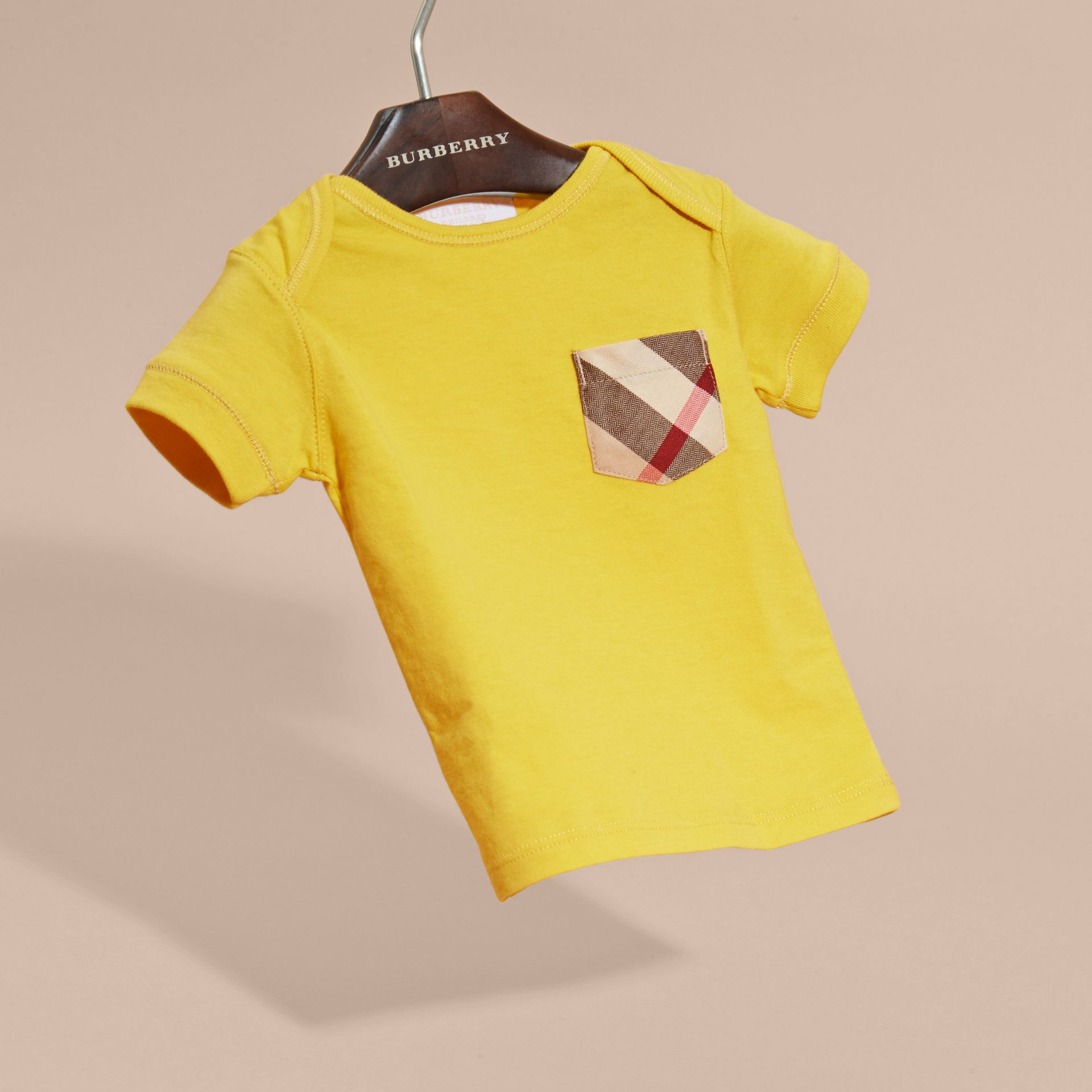 Check Pocket T-Shirt in Bright Yellow - gallery image 3