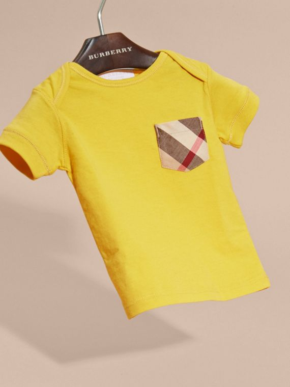 Check Pocket T-Shirt in Bright Yellow - cell image 2