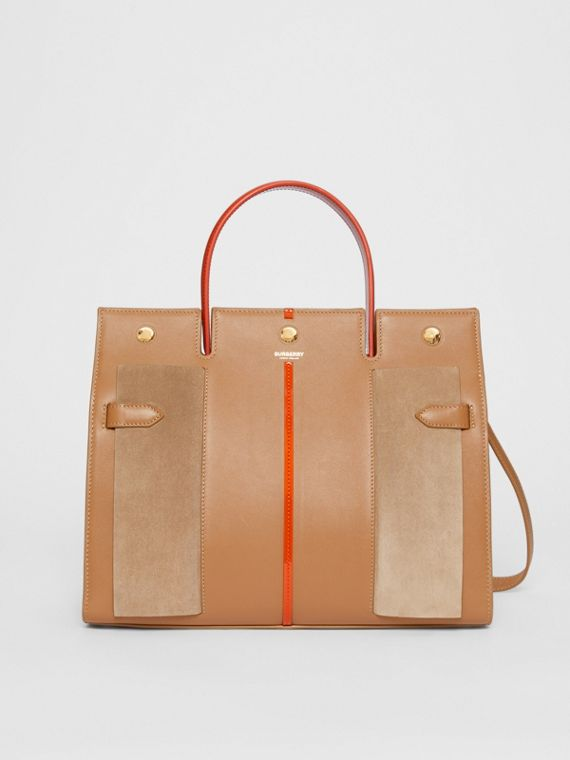 Medium Leather and Suede Title Bag in Warm Camel