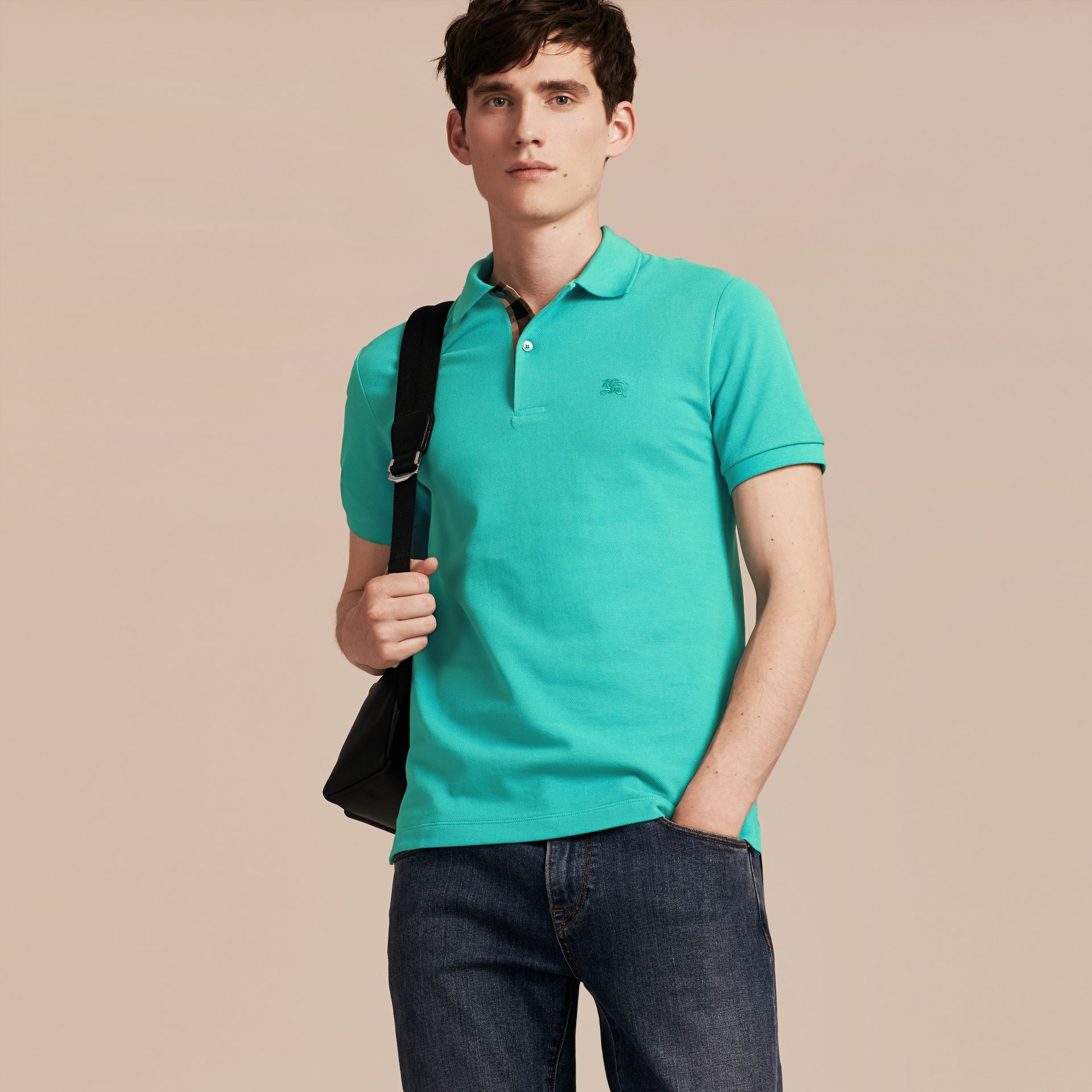 Turquoise green Check Placket Cotton Piqué Polo Shirt Turquoise Green - gallery image 6