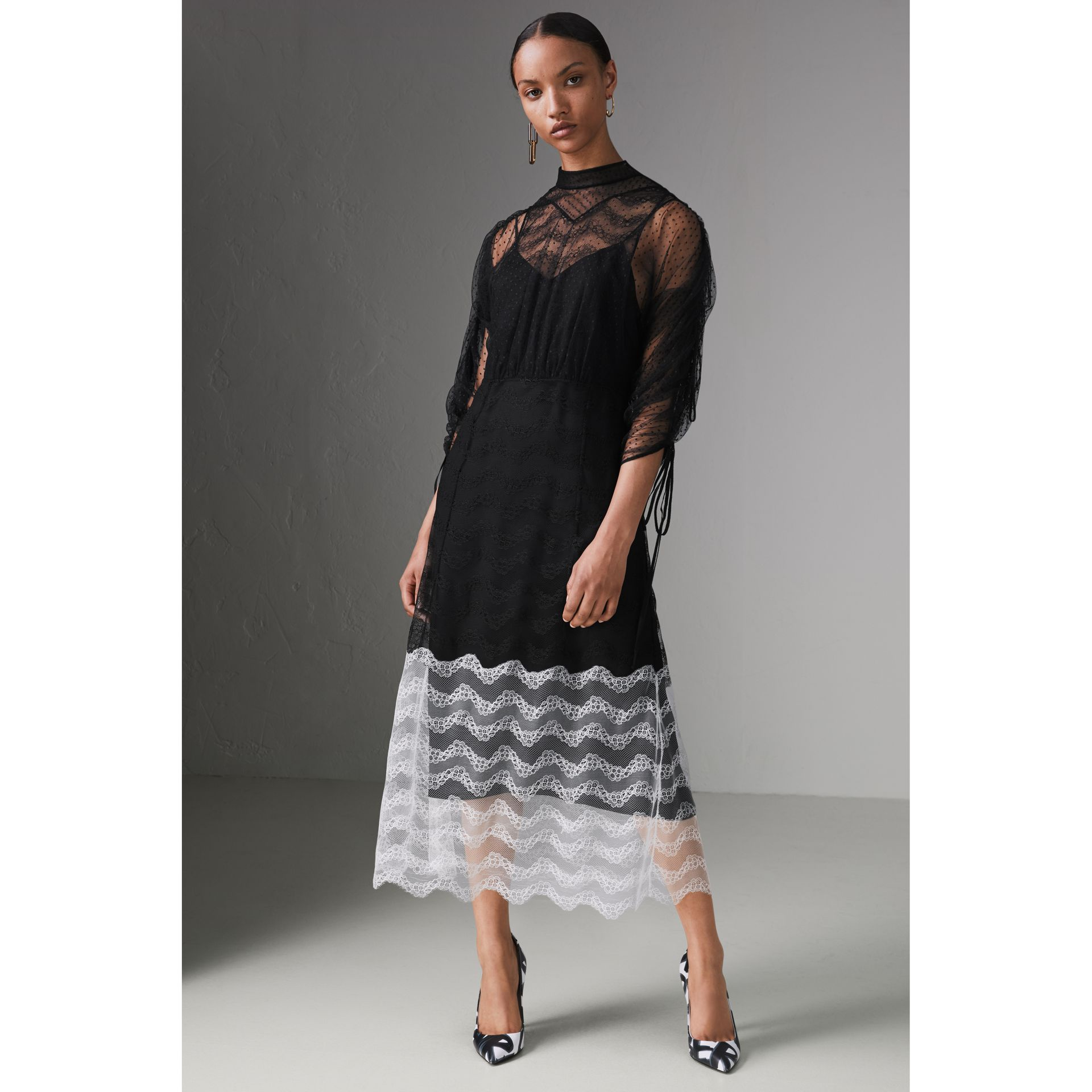 Gathered-sleeve Geometric Lace Dress in Black - Women | Burberry - gallery image 6