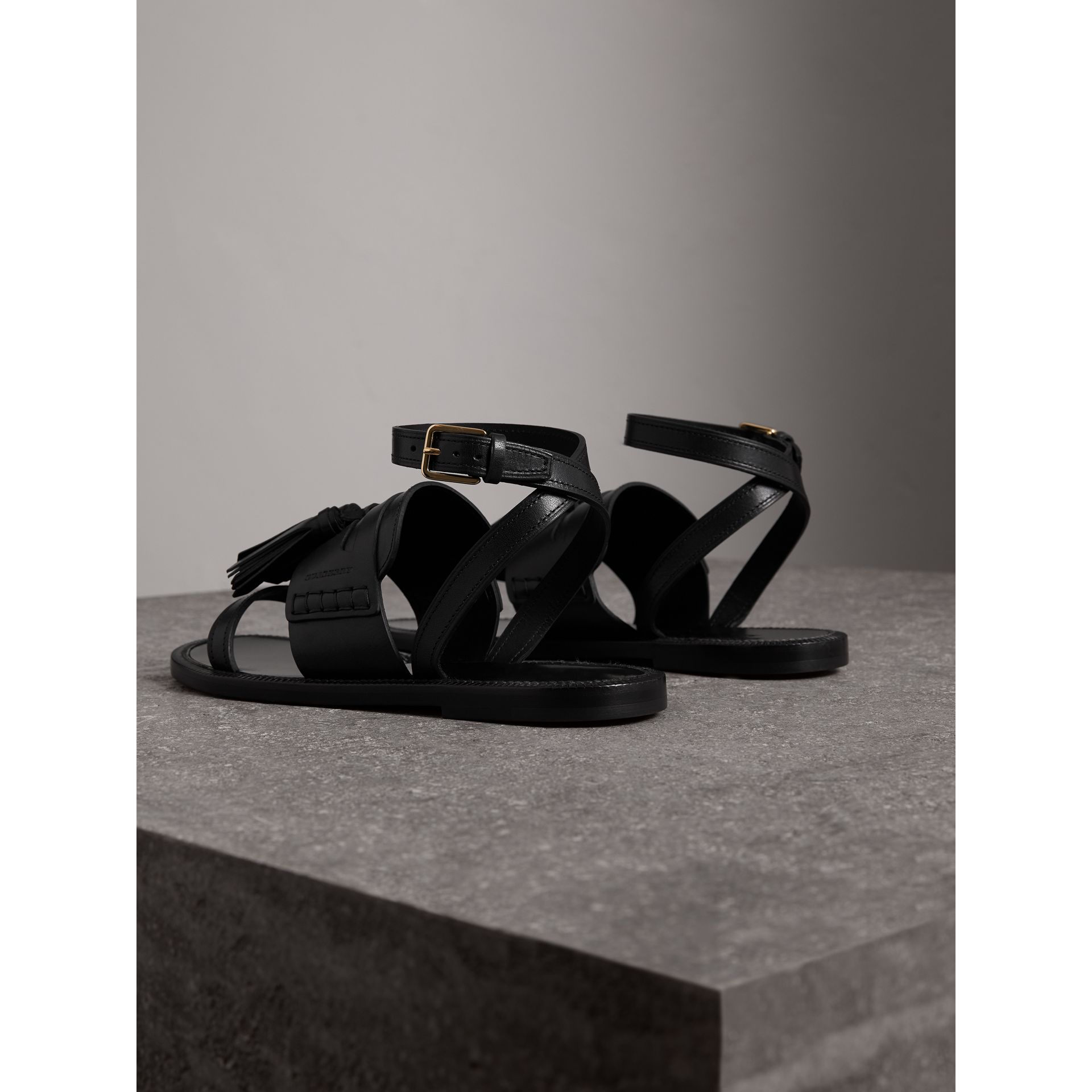 Tasselled Leather Sandals in Black - Women | Burberry Canada - gallery image 3