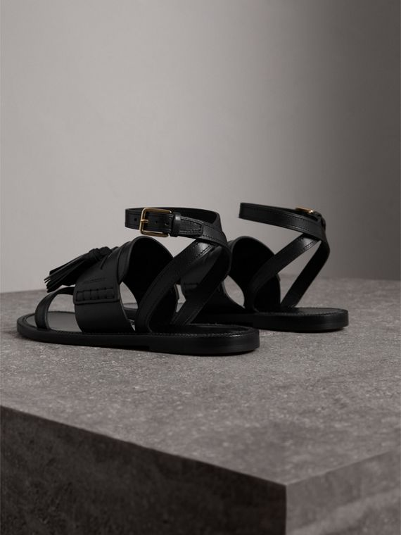 Tasselled Leather Sandals in Black - Women | Burberry Canada - cell image 3