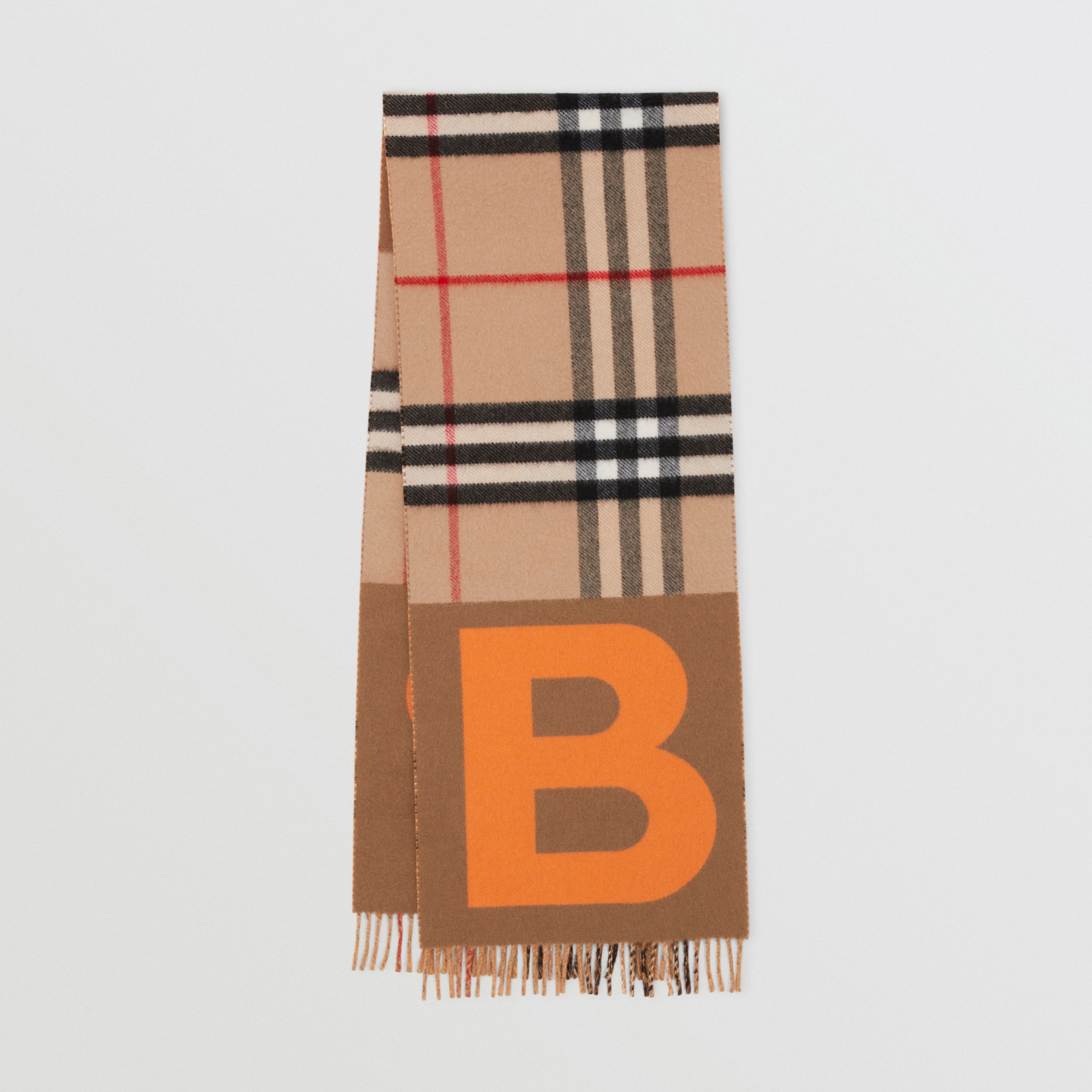 Check and B Motif Wool Cashmere Scarf in Orange | Burberry - 1