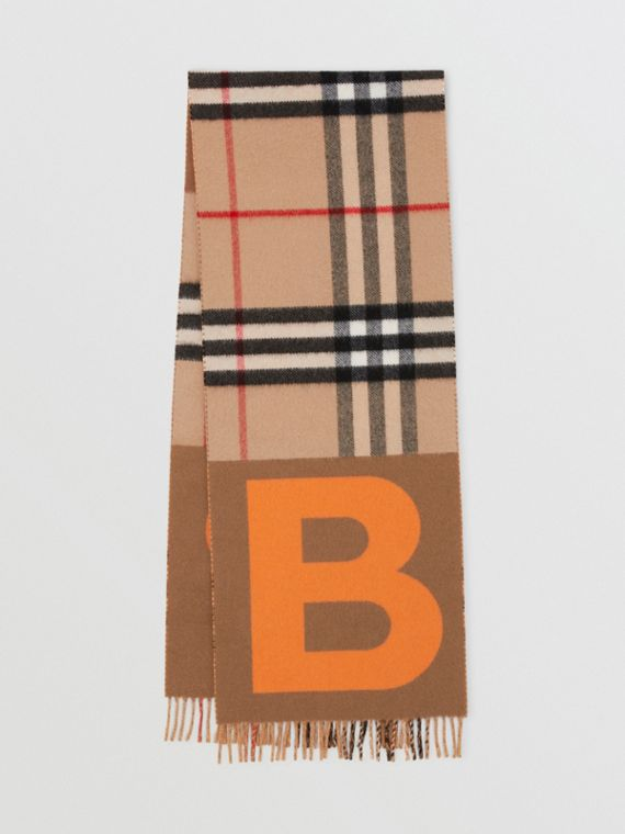 Check and B Motif Wool Cashmere Scarf in Orange