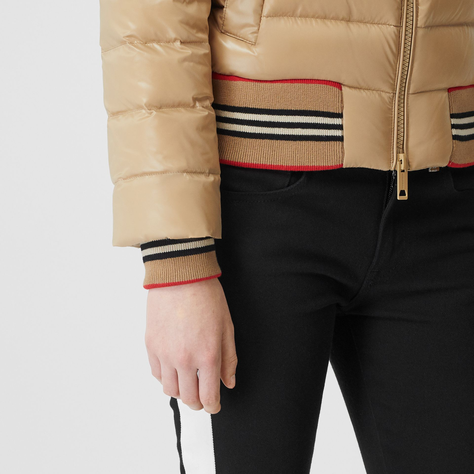 Detachable Sleeve Icon Stripe Detail Puffer Jacket in Honey - Women | Burberry - gallery image 4