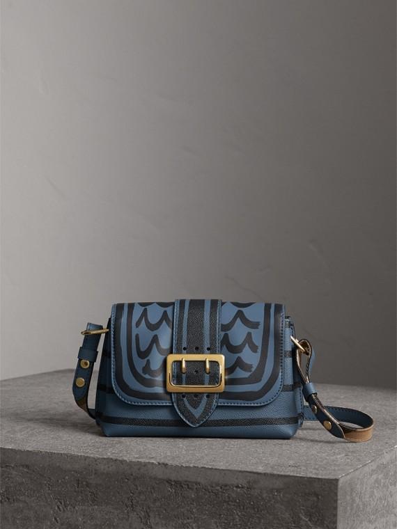 The Buckle Crossbody Bag in Trompe L'oeil Leather in Steel Blue