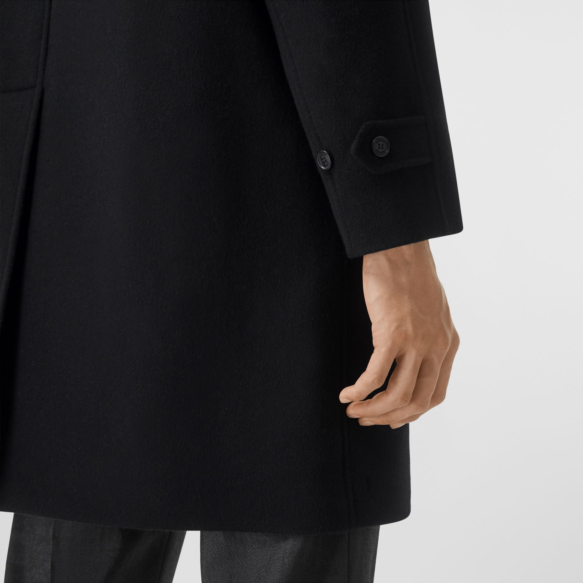 Logo Wool Cashmere Jacquard Car Coat in Black - Men | Burberry - gallery image 5