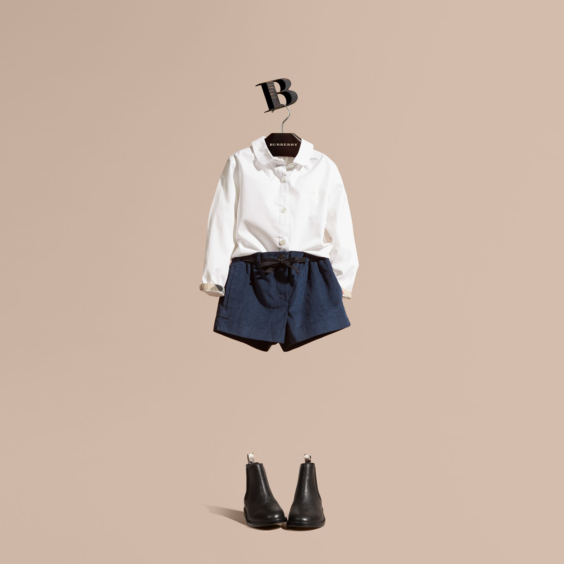 Peter Pan Collar Stretch Cotton Shirt - Girl | Burberry - gallery image 1