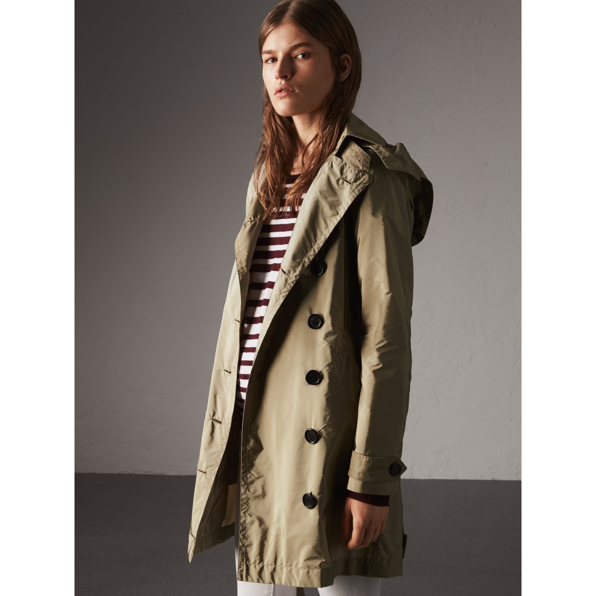 Taffeta Trench Coat with Detachable Hood in Sisal - Women | Burberry United Kingdom - gallery image 1