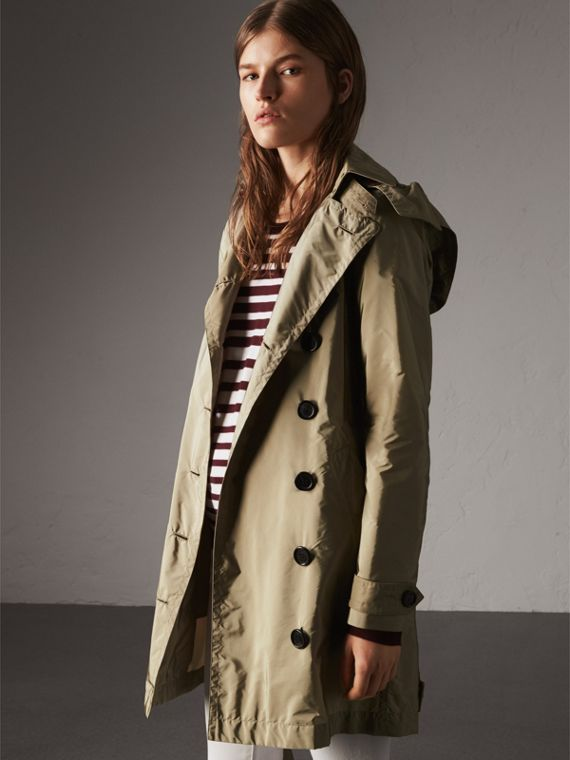 Taffeta Trench Coat with Detachable Hood in Sisal - Women | Burberry