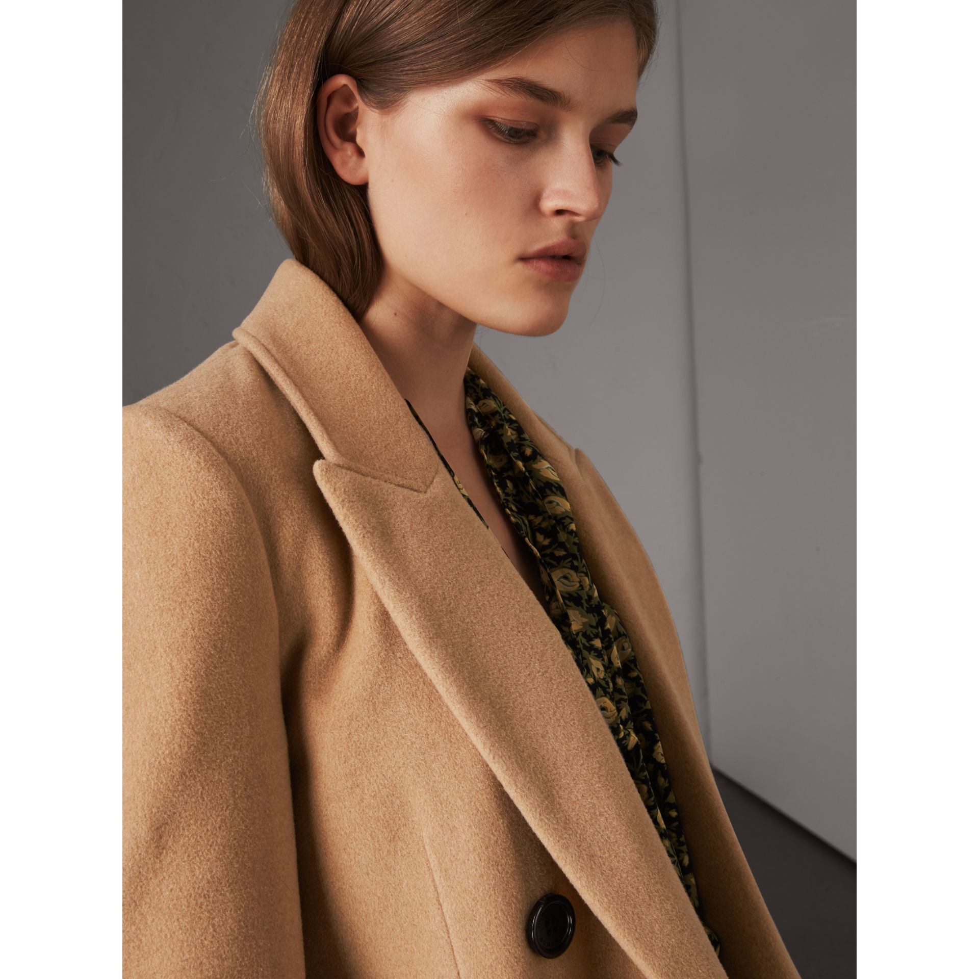 Detachable Rib Knit Collar Cashmere Coat in Camel - Women | Burberry - gallery image 6