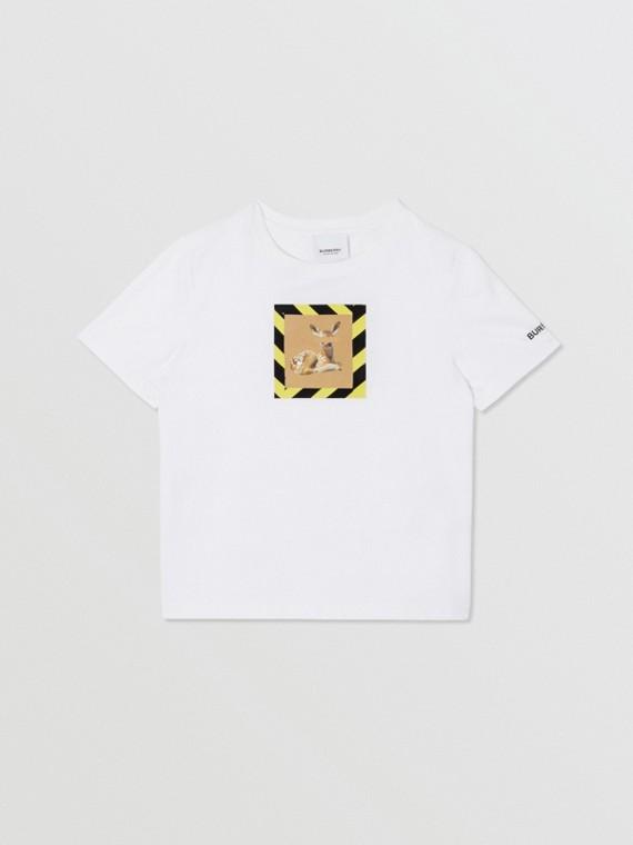 Deer Print Cotton T-shirt in White