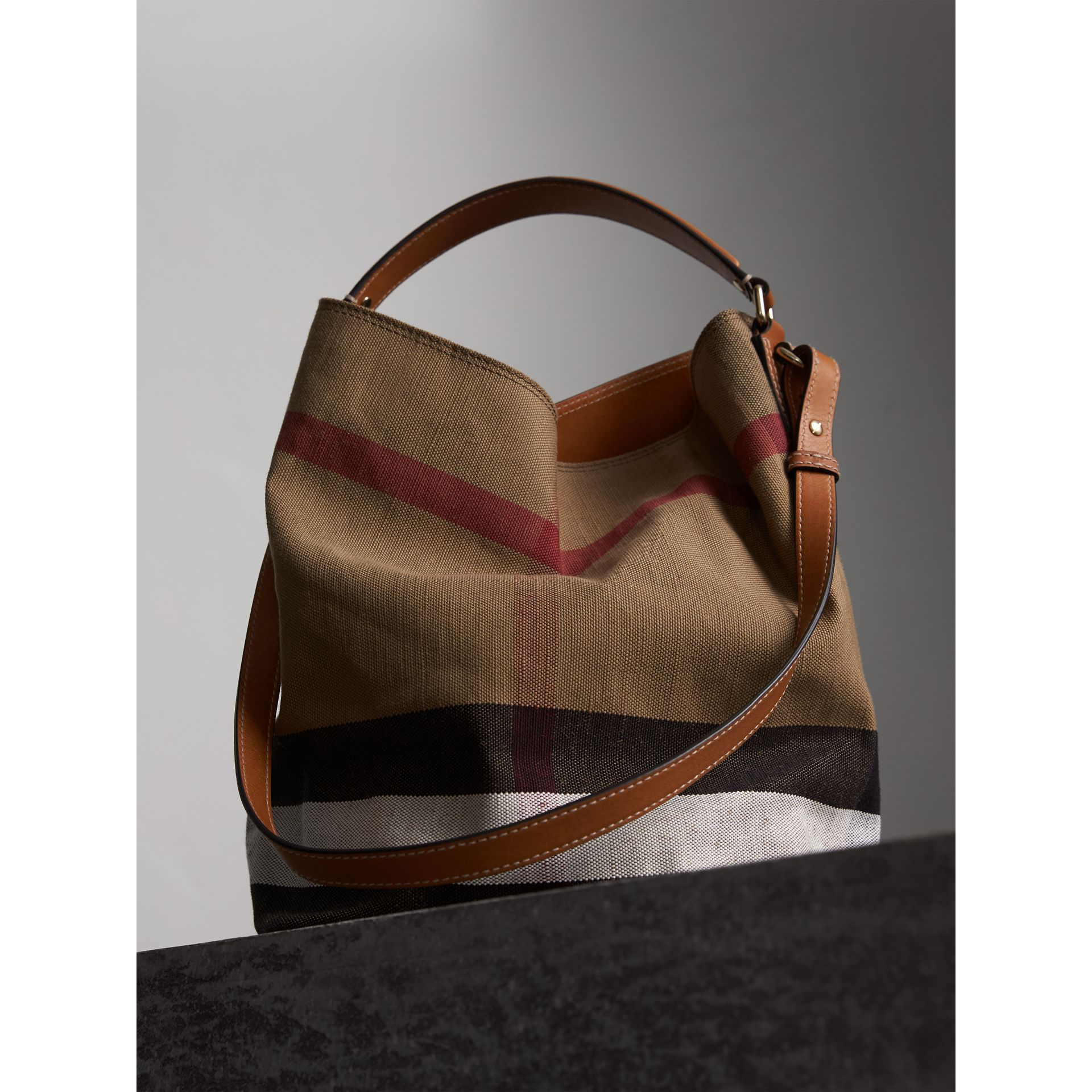 Medium Canvas Check Hobo Bag in Saddle Brown - Women | Burberry - gallery image 5