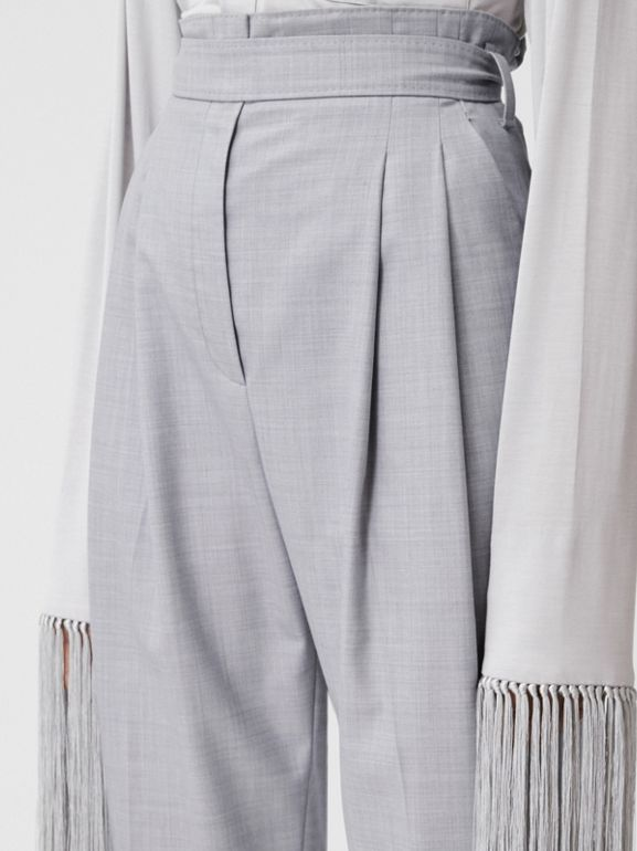 Cut-out Detail Wool Tailored Trousers in Heather Melange - Women | Burberry United States - cell image 1