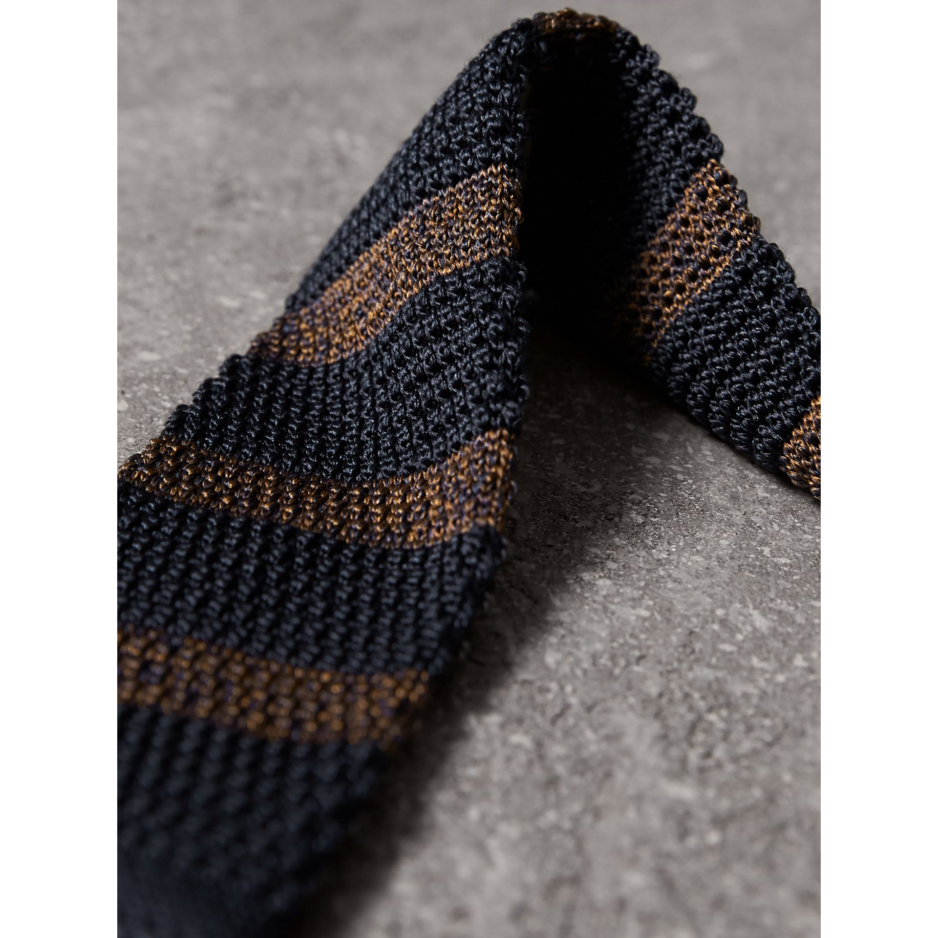 Slim Cut Two-tone Knitted Silk Tie in Navy - Men | Burberry United Kingdom - gallery image 1