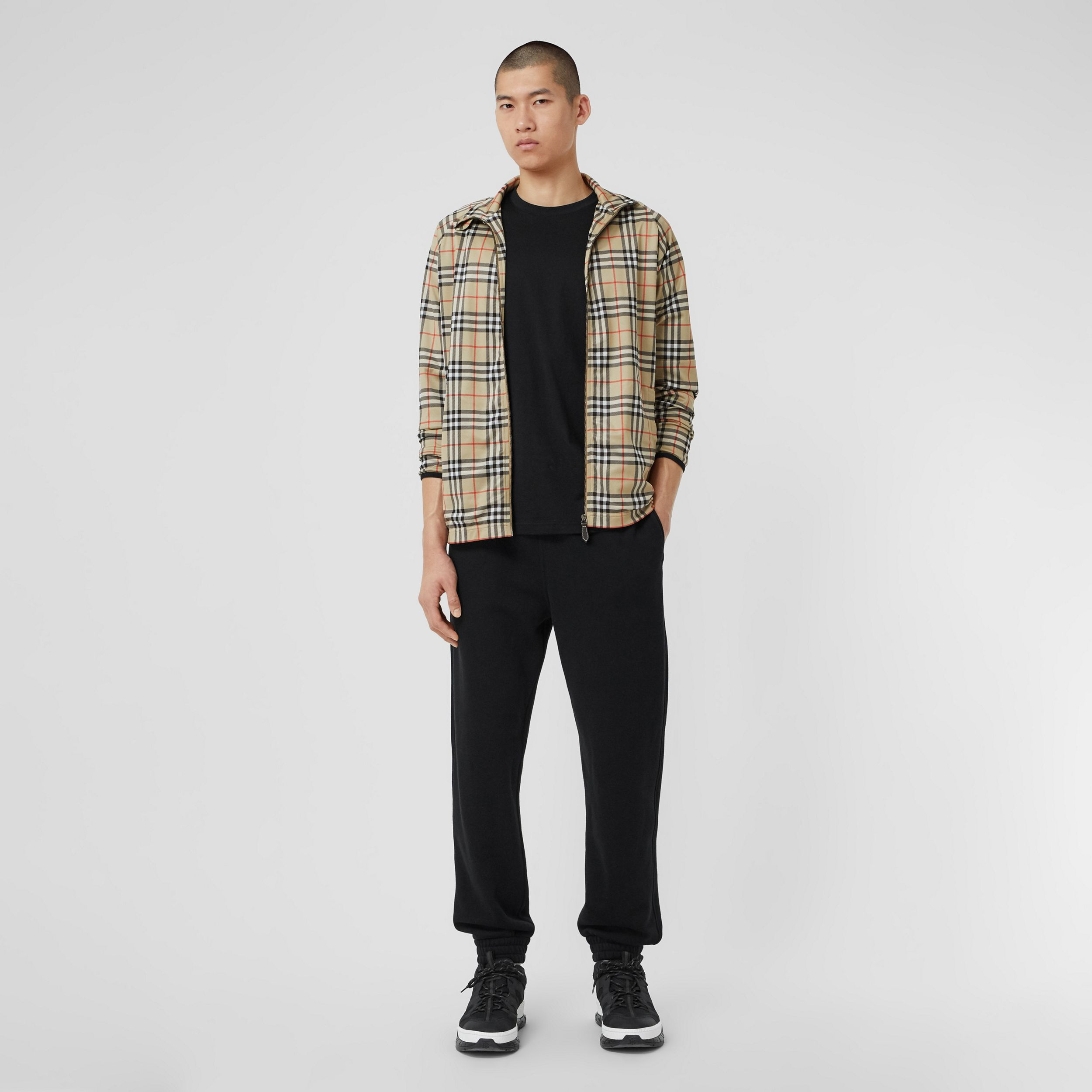 Vintage Check Technical Twill Track Top in Archive Beige - Men | Burberry United Kingdom - 1