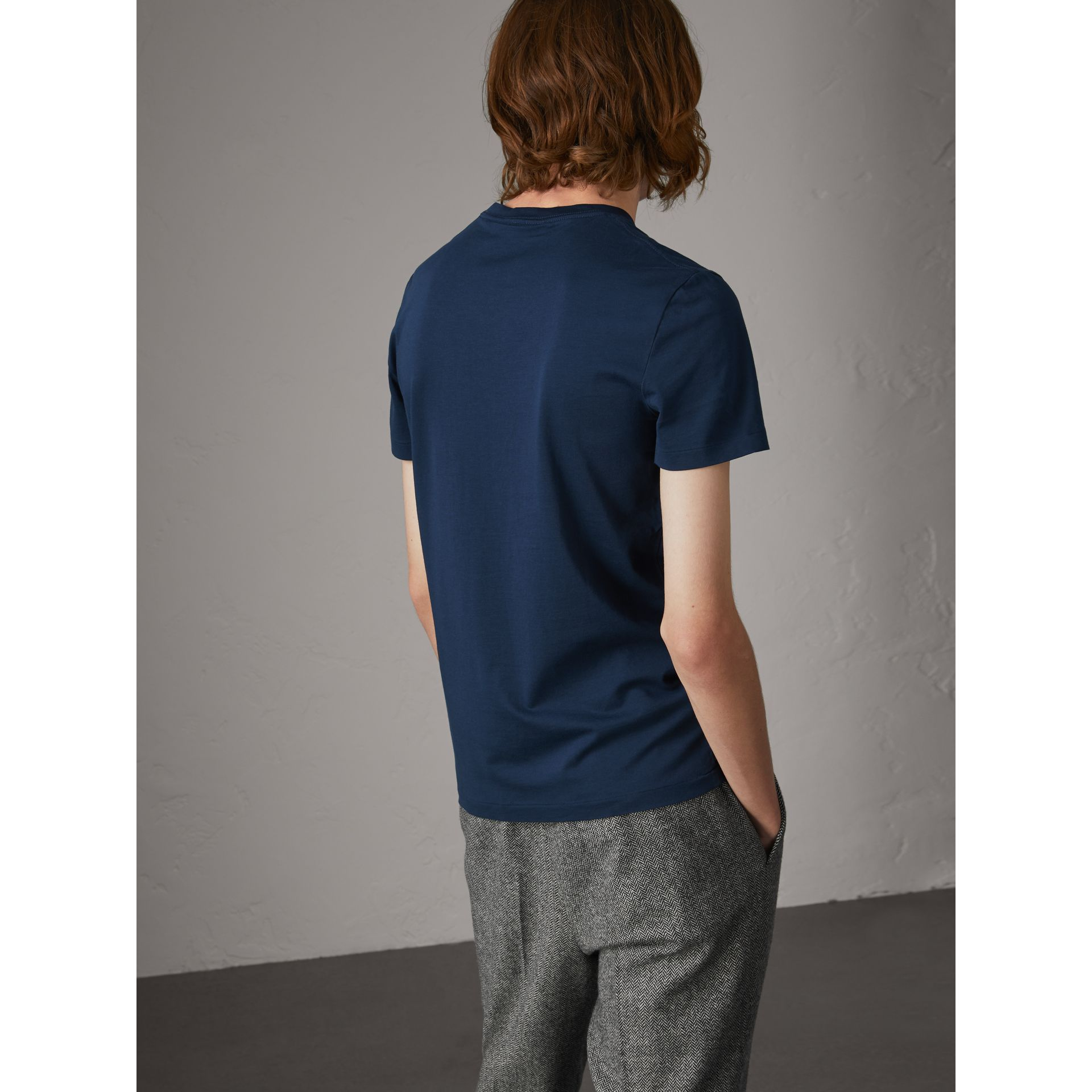 Cotton V-neck T-shirt in Navy - Men | Burberry - gallery image 2