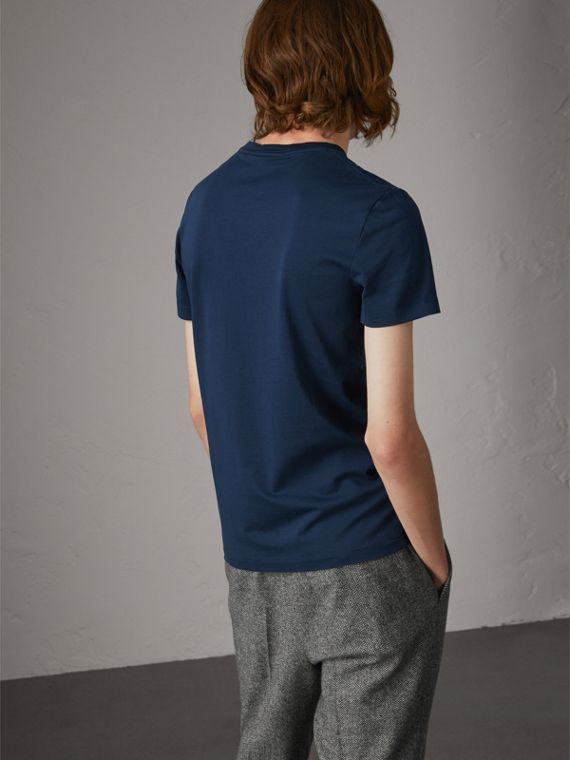 Cotton V-neck T-shirt in Navy - Men | Burberry Hong Kong - cell image 2