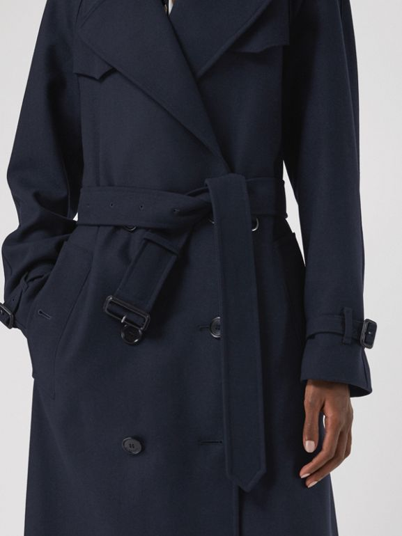 Herringbone Wool Blend Trench Coat in Navy - Women | Burberry - cell image 1