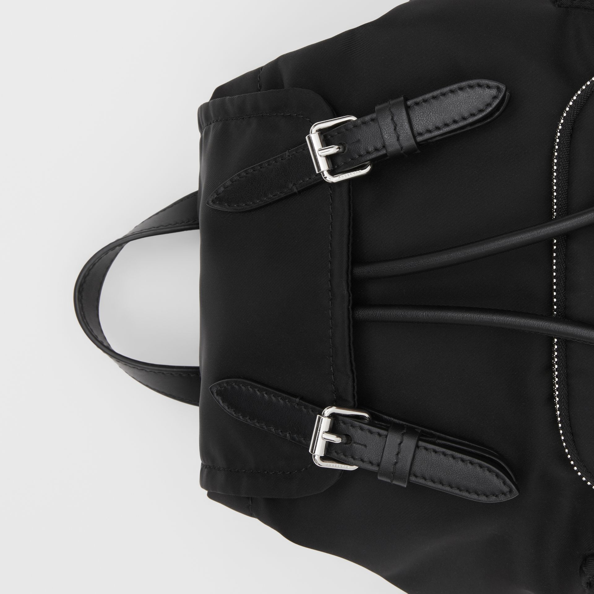 The Small Rucksack in Logo Print Nylon in Black - Women | Burberry - gallery image 1