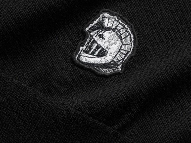 팔라스 헬멧 모티프 메리노 울 브이넥 스웨터 (블랙) - 남성 | Burberry - cell image 1